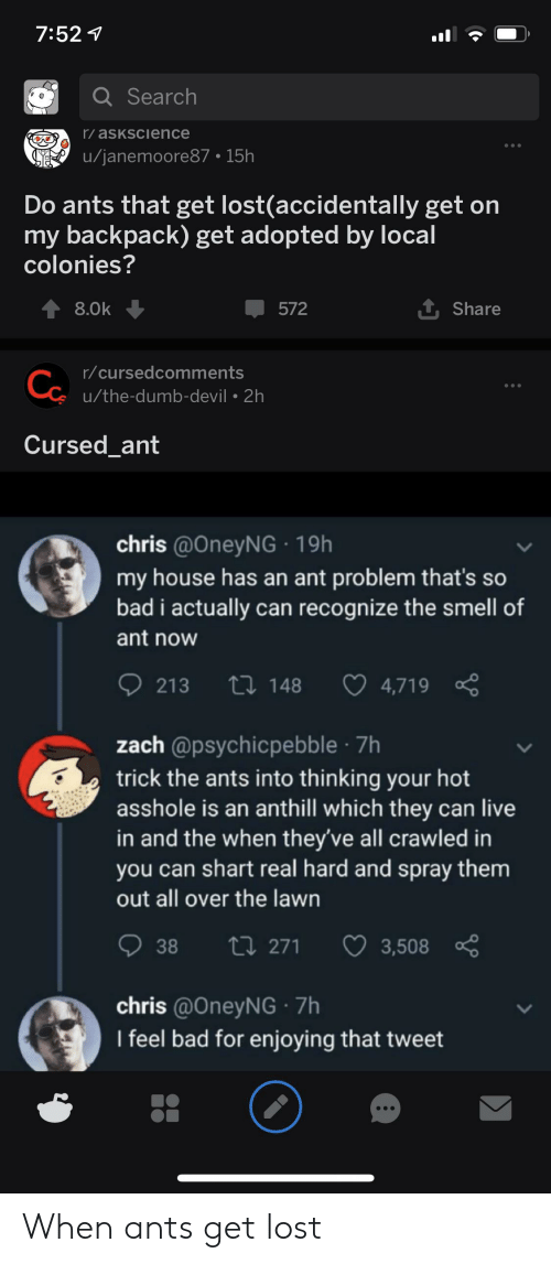 Bad, Dumb, and My House: 7:527  Q Search  r/asKsCience  u/janemoore87 15h  Do ants that get lost(accidentally get on  backpack) get adopted by local  colonies?  t Share  8.0k  572  r/cursedcomments  Co  u/the-dumb-devil 2h  Cursed_ant  chris @OneyNG 19h  my house has an ant problem that's so  bad i actually can recognize the smell of  ant now  2 148  213  4,719  zach @psychicpebble 7h  trick the ants into thinking your hot  asshole is an anthill which they can live  in and the when they've all crawled in  you can shart real hard and spray them  out all over the lawn  38  ti 271  3,508  chris @OneyNG 7h  I feel bad for enjoying that tweet When ants get lost
