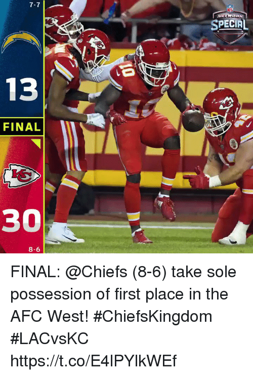 Memes, Chiefs, and 🤖: 7-7  SPECIAL  13  FINAL  30  8-6 FINAL: @Chiefs (8-6) take sole possession of first place in the AFC West! #ChiefsKingdom  #LACvsKC https://t.co/E4lPYlkWEf