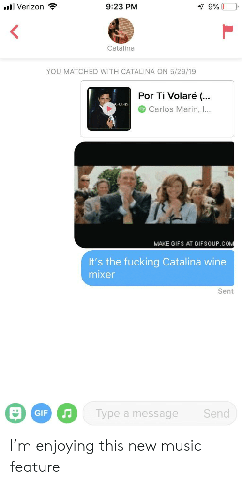 catalina wine mixer: 7 9% I  Verizon  9:23 PM  Catalina  YOU MATCHED WITH CATALINA ON 5/29/19  Por Ti Volaré (...  Carlos Marin, I..  MAKE GIFS AT GIFSOUP.COM  It's the fucking Catalina wine  mixer  Sent  Type a message  Send  GIF I'm enjoying this new music feature