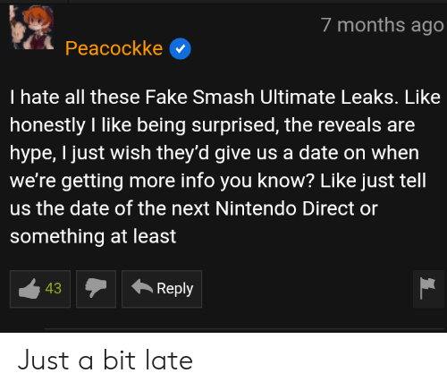 Fake, Hype, and Nintendo: 7 months ago  Peacockke  I hate all these Fake Smash Ultimate Leaks. Like  honestly I like being surprised, the reveals are  hype, I just wish they'd give us a date on when  we're getting more info you know? Like just tell  us the date of the next Nintendo Direct or  something at least  43  ·Reply Just a bit late