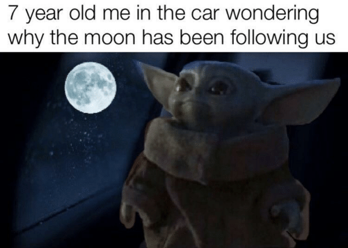 Moon, Old, and Been: 7 year old me in the car wondering  why the moon has been following us