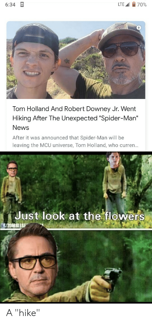 """just look at the flowers: 70%  LTE  6:34  Tom Holland And Robert Downey Jr. Went  Hiking After The Unexpected """"Spider-Man""""  News  After it was announced that Spider-Man will be  leaving the MCU universe, Tom Holland, who curren...  Just look at the flowers  /20MBIESF A """"hike"""""""