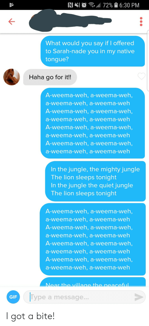 Gif, Lion, and Quiet: . 72% 6:30 PM  What would you say if I offered  to Sarah-nade you in my native  tongue?  Haha go for it!!  A-weema-weh, a-weema-weh,  a-weema-weh, a-weema-weh  A-weema-weh, a-weema-weh,  a-weema-weh, a-weema-weh  A-weema-weh, a-weema-weh,  a-weema-weh, a-weema-weh  A-weema-weh, a-weema-weh,  a-weema-weh, a-weema-weh  In the jungle, the mighty jungle  The lion sleeps tonight  In the jungle the quiet jungle  The lion sleeps tonight  A-weema-weh, a-weema-weh,  a-weema-weh, a-weema-weh  A-weema-weh, a-weema-weh,  a-weema-weh, a-weema-weh  A-weema-weh, a-weema-weh,  a-weema-weh, a-weema-weh  A-weema-weh, a-weema-weh,  a-weema-weh, a-weema-weh  Near the village the peaceful  Type a message...  GIF I got a bite!