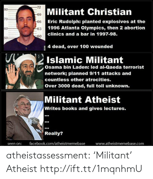 Atrocities: -72  Militant Christian  66 Eric Rudolph: planted explosives at the  80  69  70  1996 Atlanta Olympics, then 2 abortion  63  clinics and a bar in 1997-98.  60  60  so  | 4 dead, over 100 wounded  Islamic Militant  Osama bin Laden: led al-Qaeda terrorist  network; planned 9/11 attacks and  countless other atrocities.  Over 3000 dead, full toll unknown.  Militant Atheist  Writes books and gives lectures.  Really?  facebook.com/atheistmemebase  www.atheistmemebase.com  seen on: atheistassessment:  'Militant' Atheist http://ift.tt/1mqnhmU