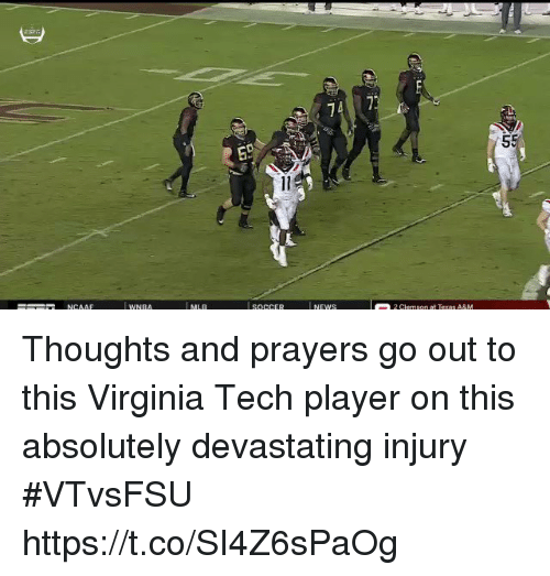 Virginia Tech: 74 7 Thoughts and prayers go out to this Virginia Tech player on this absolutely devastating injury #VTvsFSU https://t.co/SI4Z6sPaOg