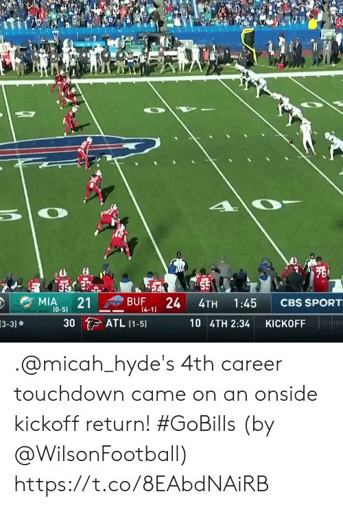 mia: 75  55  24  MIA  21  BUF  CBS SPORT  1:45  4TH  (0-5)  14-11  ATL (1-5)  30  10 4TH 2:34  KICKOFF  3-3) .@micah_hyde's 4th career touchdown came on an onside kickoff return! #GoBills  (by @WilsonFootball) https://t.co/8EAbdNAiRB