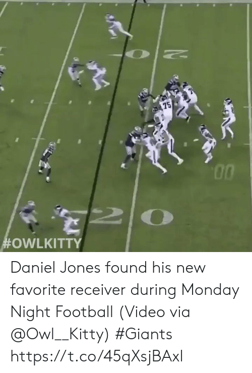 Giants: 75  Daniel Jones found his new favorite receiver during Monday Night Football  (Video via @Owl__Kitty) #Giants  https://t.co/45qXsjBAxl