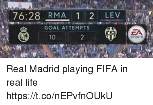 Fifa, Life, and Memes: 76:28 RMA 1 2 LEV  GOAL ATTEMPTS  ZA  SPORTS  10 Real Madrid playing FIFA in real life https://t.co/nEPvfnOUkU