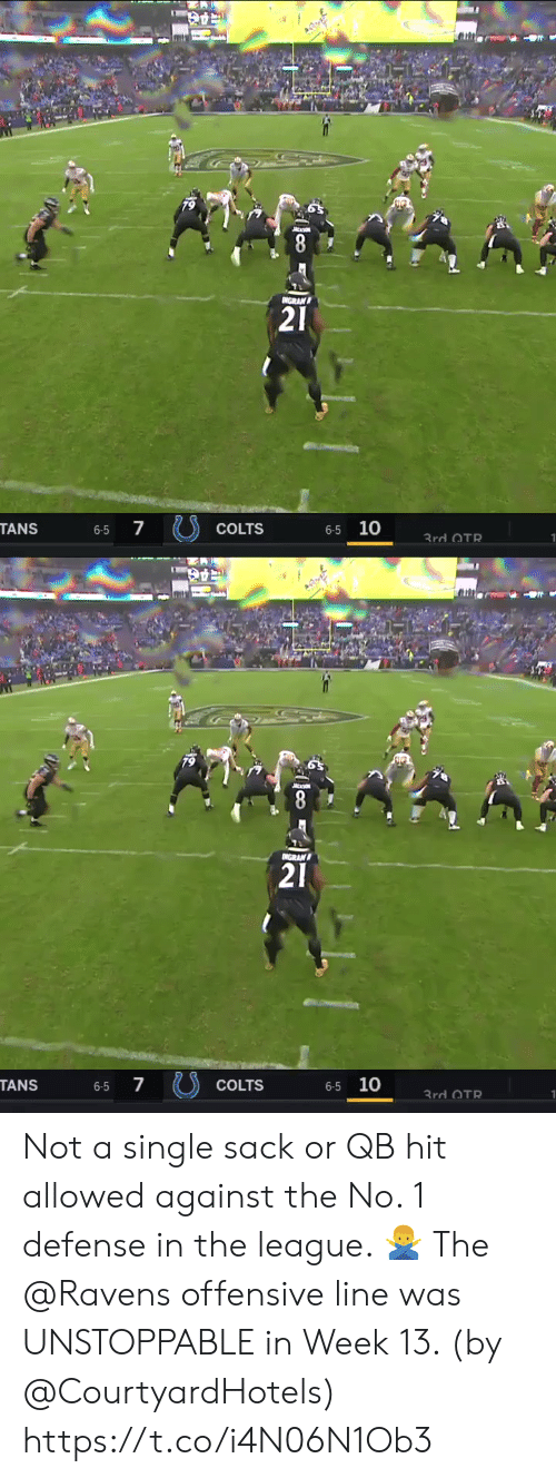Offensive Line: 79  8  GRAN  21  7  6-5 10  TANS  COLTS  6-5  3rd OTR   79  NGRAN  21  7  6-5 10  TANS  COLTS  6-5  3rd OTR Not a single sack or QB hit allowed against the No. 1 defense in the league. 🙅♂️  The @Ravens offensive line was UNSTOPPABLE in Week 13. (by @CourtyardHotels) https://t.co/i4N06N1Ob3