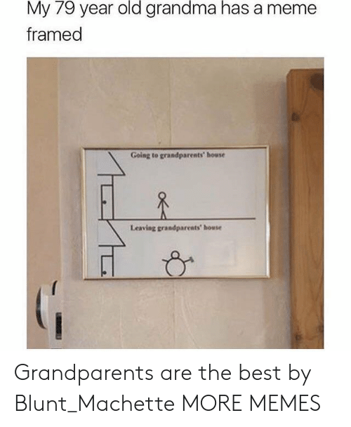 Old Grandma: 79  old  grandma  has  My year  framed  a meme  Going to grandparents' house  Leaving grandparents house Grandparents are the best by Blunt_Machette MORE MEMES