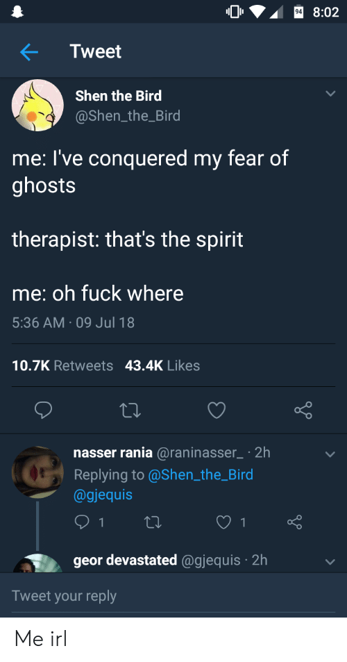 Thats The Spirit: 8:02  Tweet  Shen the Bird  @Shen_the_Bird  me: l've conquered my fear of  ghosts  therapist: that's the spirit  me: oh fuck where  5:36 AM 09 Jul 18  10.7K Retweets 43.4K Likes  nasser rania @raninasser2h  Replying to @Shen the_Bird  @gjequis  geor devastated @gjequis 2h  Tweet your reply Me irl
