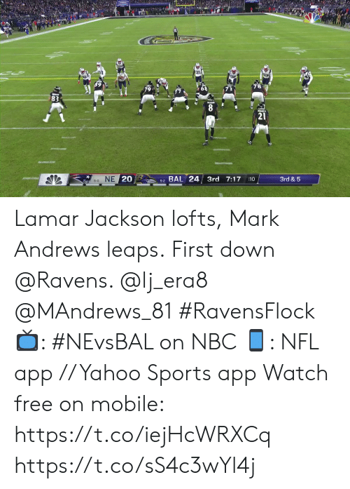 8 0: 8  21  5-2 BAL 24 3rd 7:17  8-0 NE 20  3rd & 5  :10 Lamar Jackson lofts, Mark Andrews leaps.  First down @Ravens. @lj_era8 @MAndrews_81 #RavensFlock  📺: #NEvsBAL on NBC 📱: NFL app // Yahoo Sports app Watch free on mobile: https://t.co/iejHcWRXCq https://t.co/sS4c3wYl4j