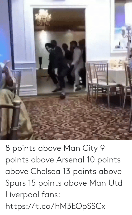 Arsenal, Chelsea, and Soccer: 8 points above Man City 9 points above Arsenal 10 points above Chelsea  13 points above Spurs 15 points above Man Utd  Liverpool fans: https://t.co/hM3EOpSSCx