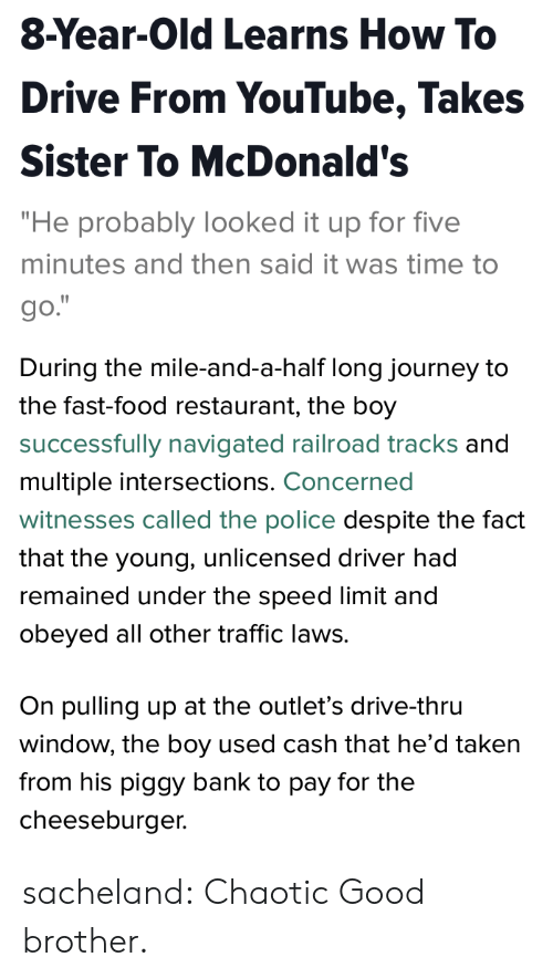 "Fast Food, Food, and Journey: 8-Year-Old Learns How To  Drive From YouTube, Takes  Sister To McDonald's  ""He probably looked it up for five  minutes and then said it was time to  go.   During the mile-and-a-half long journey to  the fast-food restaurant, the boy  successfully navigated railroad tracks and  multiple intersections. Concerned  witnesses called the police despite the fact  that the young, unlicensed driver had  remained under the speed limit and  obeyed all other traffic laws.  On pulling up at the outlet's drive-thru  window, the boy used cash that he'd taken  from his piggy bank to pay for the  cheeseburger. sacheland: Chaotic Good brother."