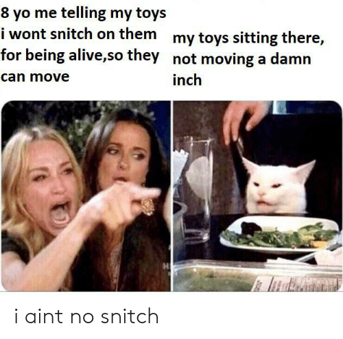 Alive, Snitch, and Yo: 8 yo me telling my toys  i wont snitch on them my toys sitting there,  for being alive,so they not moving a damn  can move  inch i aint no snitch
