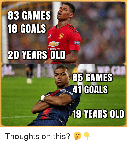 Chevrolet: 83 GAMES  18 GOALS  CHEVROLET  20 YEARS OLD  85 GAMES  41 GOALS  19 YEARS OLD Thoughts on this? 🤔👇