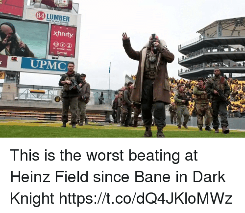 Bane, Internet, and Nfl: 84  xfinity  TV INTERNET VOICE  UPMC This is the worst beating at Heinz Field since Bane in Dark Knight https://t.co/dQ4JKloMWz