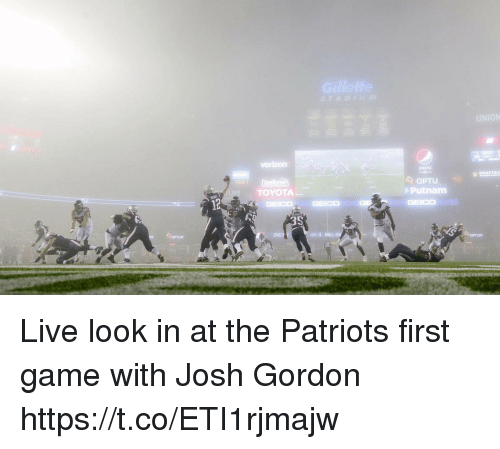 Football, Nfl, and Patriotic: 857  20  OPTU  e Putnam  TOYOTA  2ND F  QTR 4 BALLON  OPTUM  OPTUM Live look in at the Patriots first game with Josh Gordon https://t.co/ETI1rjmajw