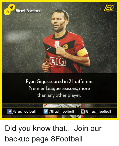 ryan giggs: 8fact Football  AIG  Ryan Giggs scored in 21 different  Premier League seasons, more  than any other player  8factFootball  8fact football  8 fact football Did you know that...  Join our backup page 8Football