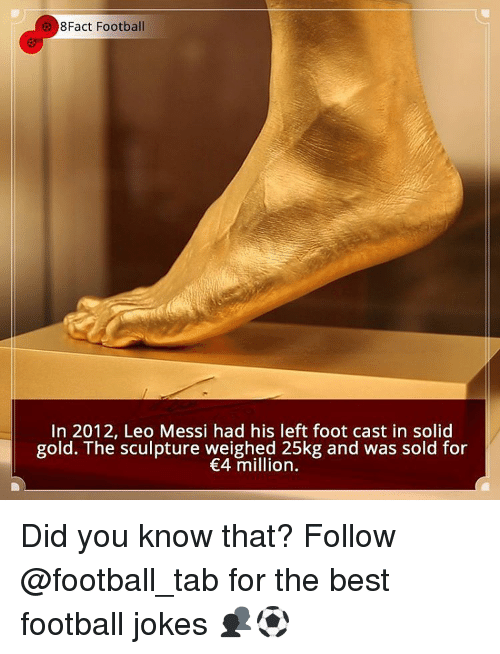 Solde: 8Fact Football  In 2012, Leo Messi had his left foot cast in solid  gold. The sculpture weighed 25kg and was sold for  €4 million. Did you know that? Follow @football_tab for the best football jokes 👥⚽️