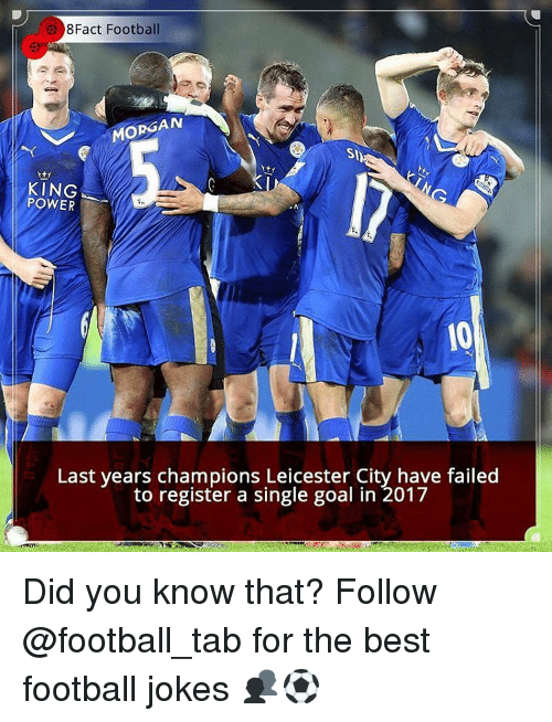 Leicester City: 8Fact Football  MORGAN  Sh  KING  POWER  Last years champions Leicester City have failed  to register a single goal in 2017 Did you know that? Follow @football_tab for the best football jokes 👥⚽️