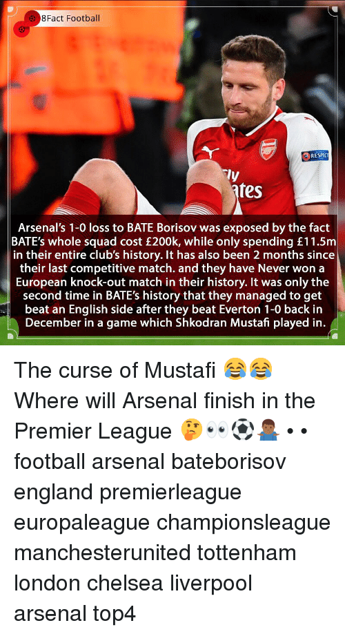 tottenham: 8Fact Football  RESPC  ly  fes  Arsenal's 1-0 loss to BATE Borisov was exposed by the fact  BATE's whole squad cost £200k, while only spending £11.5m  in their entire club's history. It has also been 2 months since  their last competitive match. and they have Never won a  European knock-out match in their history. It was only the  second time in BATE's history that they managed to get  beat an English side after they beat Everton 1-0 back in  December in a game which Shkodran Mustafi played in. The curse of Mustafi 😂😂 Where will Arsenal finish in the Premier League 🤔👀⚽️🤷🏾‍♂️ • • football arsenal bateborisov england premierleague europaleague championsleague manchesterunited tottenham london chelsea liverpool arsenal top4