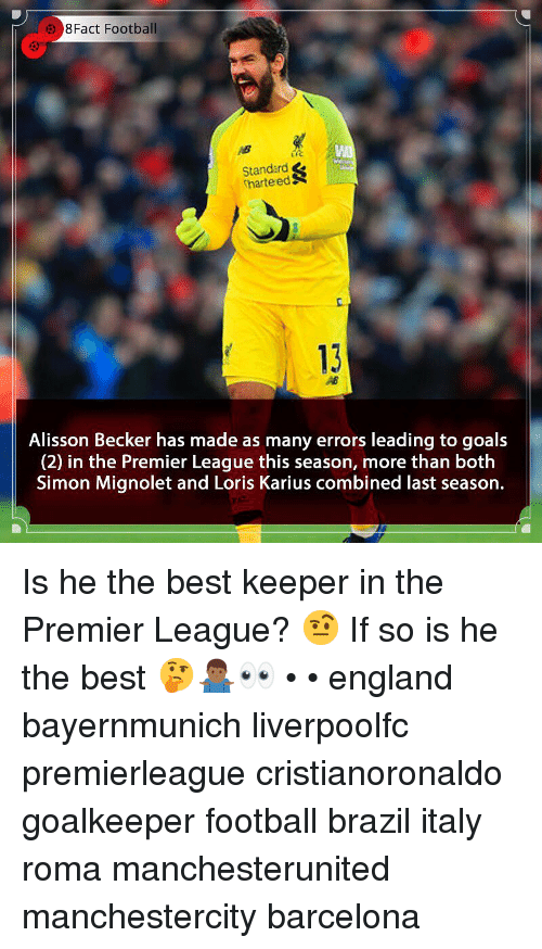 Barcelona, England, and Football: 8Fact Football  Standard  harteedS  c.  13  Alisson Becker has made as many errors leading to goals  (2) in the Premier League this season, more than both  Simon Mignolet and Loris Karius combined last season. Is he the best keeper in the Premier League? 🤨 If so is he the best 🤔🤷🏾♂️👀 • • england bayernmunich liverpoolfc premierleague cristianoronaldo goalkeeper football brazil italy roma manchesterunited manchestercity barcelona