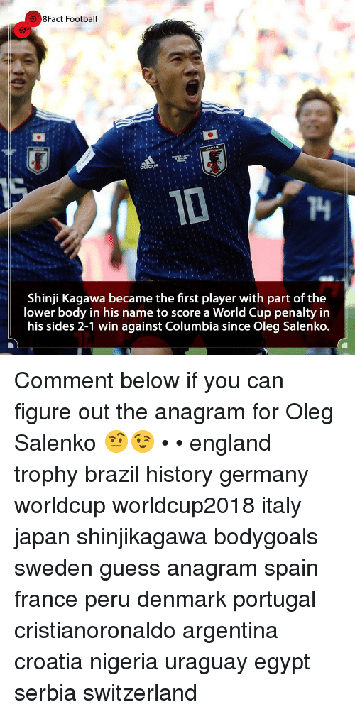 England, Football, and Memes: 8Fact Football  T4  Shinji Kagawa became the first player with part of the  lower body in his name to score a World Cup penalty in  his sides 2-1 win against Columbia since Oleg Salenko. Comment below if you can figure out the anagram for Oleg Salenko 🤨😉 • • england trophy brazil history germany worldcup worldcup2018 italy japan shinjikagawa bodygoals sweden guess anagram spain france peru denmark portugal cristianoronaldo argentina croatia nigeria uraguay egypt serbia switzerland