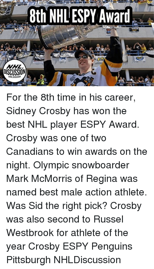 Russel Westbrook: 8th NHL ESPY Award . For the 8th time in his career, Sidney Crosby has won the best NHL player ESPY Award. Crosby was one of two Canadians to win awards on the night. Olympic snowboarder Mark McMorris of Regina was named best male action athlete. Was Sid the right pick? Crosby was also second to Russel Westbrook for athlete of the year Crosby ESPY Penguins Pittsburgh NHLDiscussion