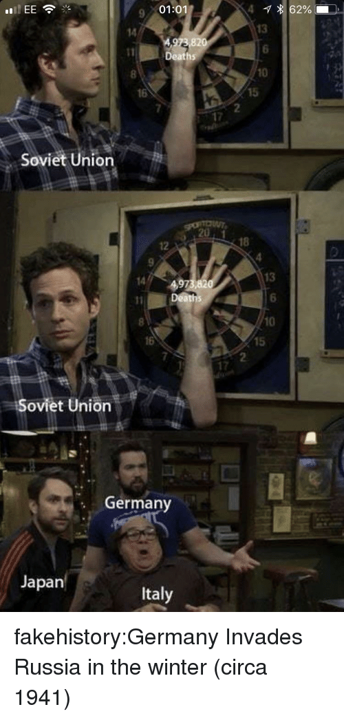 Target, Tumblr, and Winter: 9 01:01  13  6  10  Death  16  Soviet Union  18  12  13  6  10  Deaths  16  15  17  Soviet Union  Germany  Japan  Italy fakehistory:Germany Invades Russia in the winter (circa 1941)