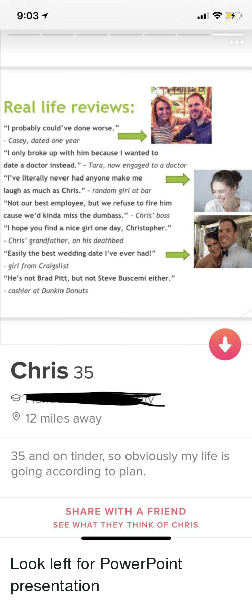 "Brad Pitt, Craigslist, and Doctor: 9:03  Real life reviews:  ""I probably could've done worse.""  Casey, dated one year  ""I only broke up with him because I wanted to  date a doctor instead. Tara, now engaged to a doctor  ""l've literally never had anyone make me  laugh as much as Chris."" random girl at bar  ""Not our best employee, but we refuse to fire him  cause we'd kinda miss the dumbass.""- Chris' boss  ""I hope you find a nice girl one day, Christopher.""  - Chris' grandfather, on his deathbed  ""Easily the best wedding date I've ever had!""  -girl from Craigslist  ""He's not Brad Pitt, but not Steve Buscemi either.""  - cashier at Dunkin Donuts  _*  Chris 35  12 miles away  35 and on tinder, so obviously my life is  going according to plan  SHARE WITH A FRIEND  SEE WHAT THEY THINK OF CHRIS Look left for PowerPoint presentation"