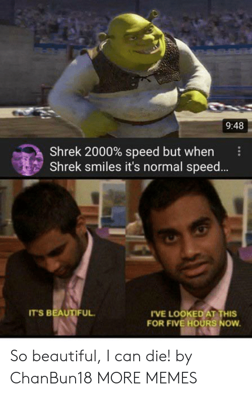 Smiles: 9:48  Shrek 2000% speed but when  Shrek smiles it's normal spee...  IT'S BEAUTIFUL  IVE LOOKED AT THIS  FOR FIVE HOURS NOW So beautiful, I can die! by ChanBun18 MORE MEMES