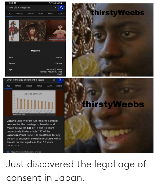 Japan consent meme age of in Legal status