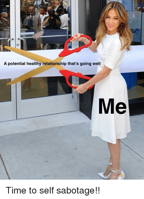 Time, Girl Memes, and Sabotage: 9  A potential healthy relationship that's going well Time to self sabotage!!