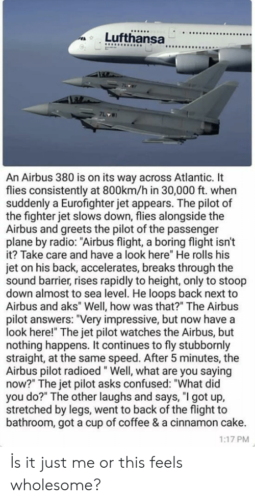 "Confused, Radio, and Cake: 9  An Airbus 380 is on its way across Atlantic. It  flies consistently at 800km/h in 30,000 ft. when  suddenly a Eurofighter jet appears. The pilot of  the fighter jet slows down, flies alongside the  Airbus and greets the pilot of the passenger  plane by radio: ""Airbus flight, a boring flight isn't  it? Take care and have a look here"" He rolls his  jet on his back, accelerates, breaks through the  sound barrier, rises rapidly to height, only to stoop  down almost to sea level. He loops back next to  Airbus and aks"" Well, how was that?"" The Airbus  pilot answers: ""Very impressive, but now have a  look here!"" The jet pilot watches the Airbus, but  nothing happens. It continues to fly stubbornly  straight, at the same speed. After 5 minutes, the  Airbus pilot radioed"" Well, what are you saying  now?"" The jet pilot asks confused: ""What did  you do?"" The other laughs and says, ""I got up,  stretched by legs, went to back of the flight to  bathroom, got a cup of coffee & a cinnamon cake.  1:17 PM İs it just me or this feels wholesome?"