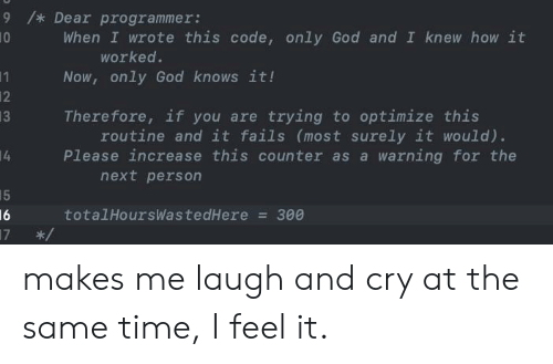 God, Time, and How: 9 /* Dear programmer:  10  When I wrote this code, only God and I knew how it  worked.  Now, only God knows it!  11  12  13  Therefore, if you are trying to optimize this  routine and it fails (most surely it would).  Please increase this counter as a warning for the  4  next person  15  16  17  totalHoursWastedHere  300  LO makes me laugh and cry at the same time, I feel it.