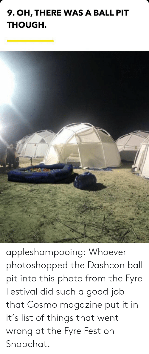 Snapchat, Target, and Tumblr: 9. OH, THERE WAS A BALL PIT  THOUGH. appleshampooing:  Whoever photoshopped the Dashcon ball pit into this photo from the Fyre Festival did such a good job that Cosmo magazine put it in it's list of things that went wrong at the Fyre Fest on Snapchat.