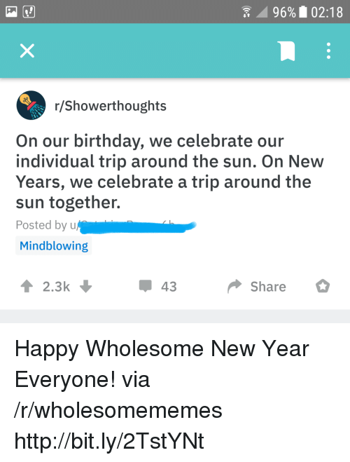 Birthday, New Year's, and Happy: 96% 02:18  r/Showerthoughts  On our birthday, we celebrate our  individual trip around the sun. On New  Years, we celebrate a trip around the  sun together.  Posted by u  Mindblowing  2.3  43  Share Happy Wholesome New Year Everyone! via /r/wholesomememes http://bit.ly/2TstYNt