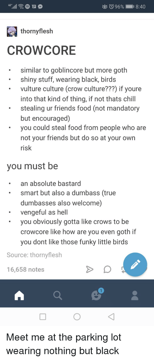 Chill, Food, and Friends: 96% 1  18:40  thornyflesh  CROWCORE  similar to goblincore but more goth  shiny stuff, wearing black, birds  vulture culture (crow culture???) if youre  into that kind of thing, if not thats chill  stealing ur friends food (not mandatory  but encouraged)  you could steal food from people who are  not vour friends but do so at your own  risk  you must be  an absolute bastard  smart but also a dumbass (true  dumbasses also welcome)  vengeful as hell  you obviously gotta like crows to be  crowcore like how are you even goth if  you dont like those funky little birds  Source: thornyflesh  16,658 notes Meet me at the parking lot wearing nothing but black