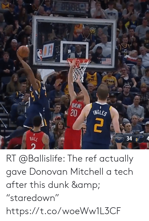 """The Ref: 98 88-  REICANS  20  INGLES  4  34  BALL RT @Ballislife: The ref actually gave Donovan Mitchell a tech after this dunk & """"staredown"""" https://t.co/woeWw1L3CF"""