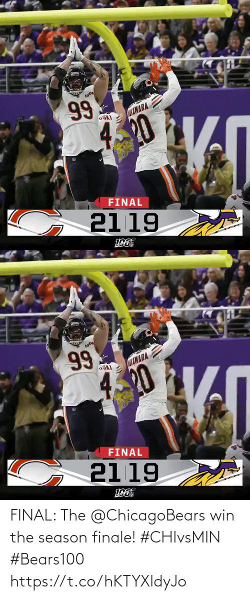 420: 99  CaAMARA  OSKI  420  FINAL  G 2119   Lσ )  99  αΙΝΑΑ  4.20  FINAL  2119  ε FINAL: The @ChicagoBears win the season finale! #CHIvsMIN #Bears100 https://t.co/hKTYXldyJo