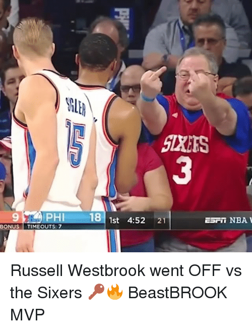 Memes, Nba, and Russell Westbrook: 9PHI 181st 4:52 21  ESFn NBA  ONUS TIMEOUTS: 7 Russell Westbrook went OFF vs the Sixers 🔑🔥 BeastBROOK MVP