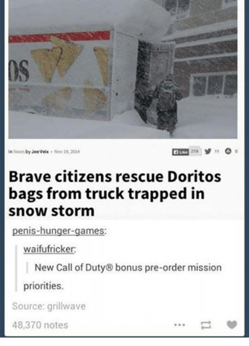 snow storm: In News by Joeveix Nov 19, 2014  11  Luke  Brave citizens rescue Doritos  bags from truck trapped in  snow storm  penis-hunger games  waifufricker:  New Call of Duty® bonus pre-order mission  priorities.  Source: grillwave  48,370 notes