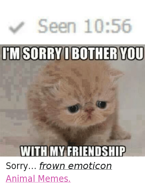 Animals, Anime, and Meme: Seen 10:56  IM SORRY I BOTHER YOU  WITH MY FRIENDSHIP Sorry… frown emoticon  Animal Memes.