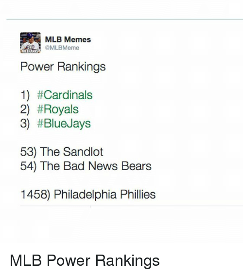 Bad, Jay, and Meme: MLB Memes  @MLBMerme  NO THANKS  Power Rankings  1) #Cardinals  2) #Royals  3) #Blue Jays  53) The Sandlot  54) The Bad News Bears  1458) Philadelphia Phillies MLB Power Rankings