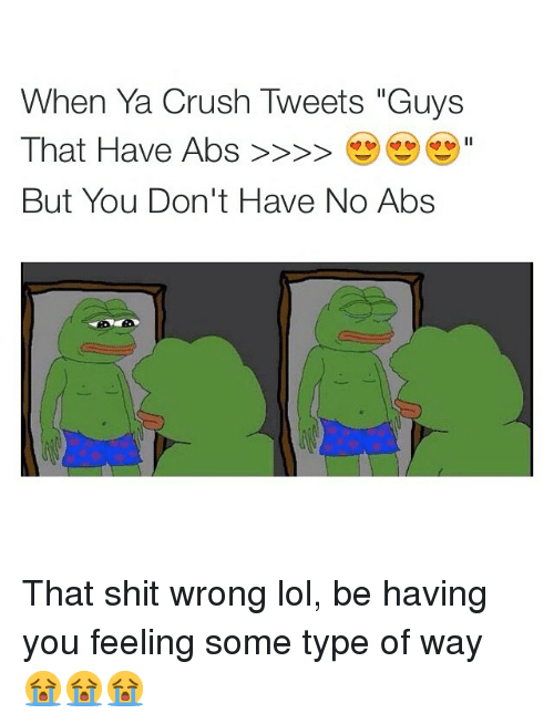 "feelings some type of way: When Ya Crush Tweets ""Guys  That Have Abs  But You Don't Have No Abs That shit wrong lol, be having you feeling some type of way 😭😭😭"