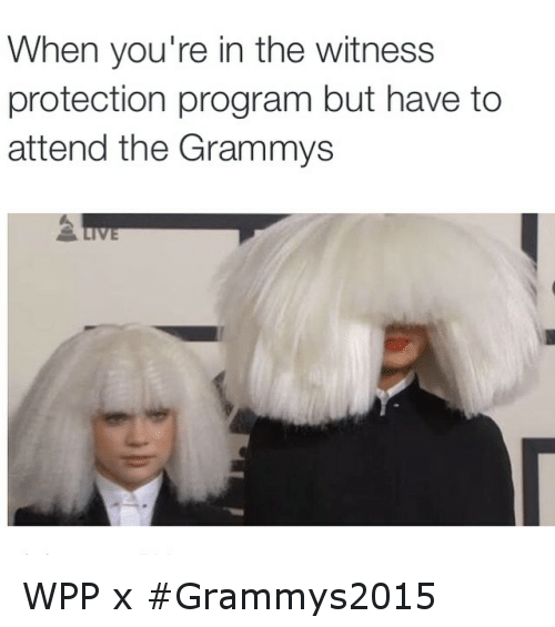 wpp: When you're in the witness  protection program but have to  attend the Grammys WPP x Grammys2015