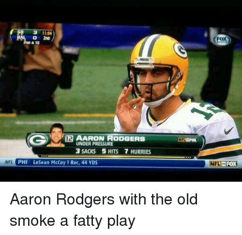 Aaron Rodgers, Memes, and Under Pressure: a 11:04  BAL O 2ND  2ND 10  12 AARON RODGERS  UNDER PRESSURE  3 SACKS 5 HITS 7 HURRIES  NFL  PHI LeSean McCoy Rec, 44 YDS  (Fox  NFL FOX Aaron Rodgers with the old smoke a fatty play