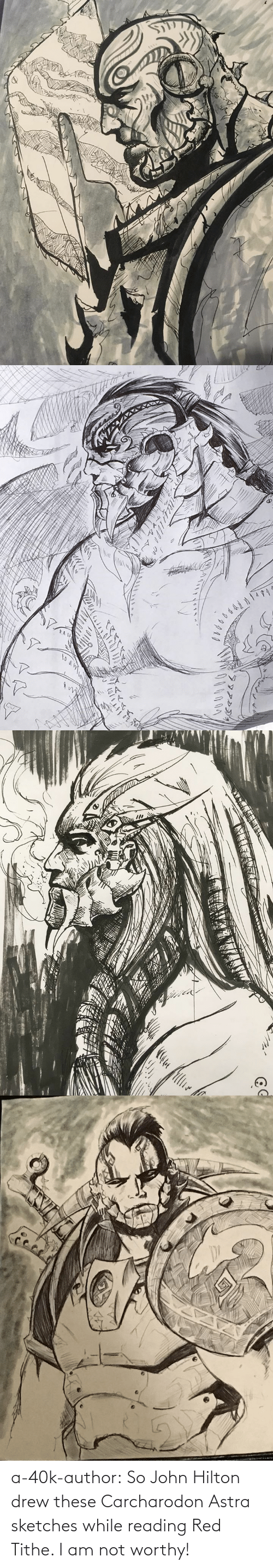 Am Not: a-40k-author:  So John Hilton drew these Carcharodon Astra sketches while reading Red Tithe. I am not worthy!