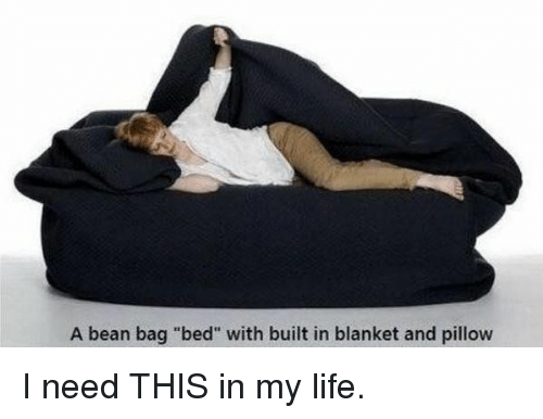 """Bean Bagged: A bean bag """"bed"""" with built in blanket and pillow I need THIS in my life."""
